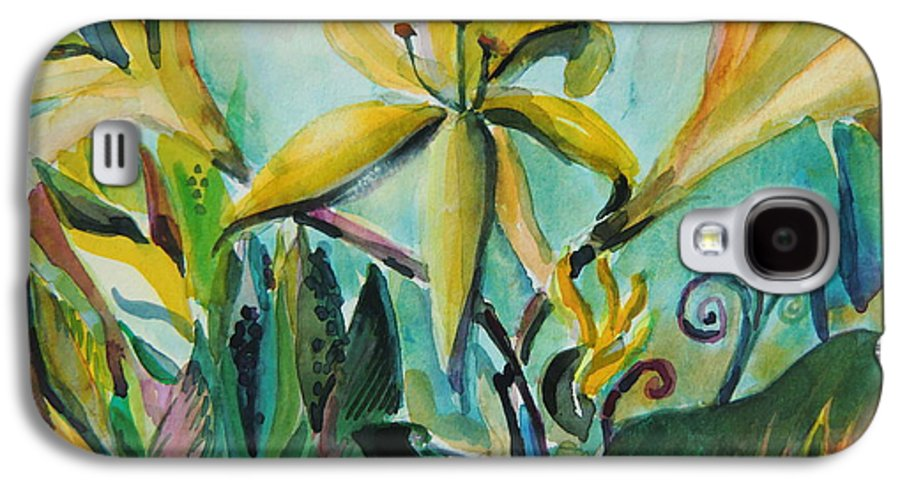 Lily Galaxy S4 Case featuring the painting Yellow Day Lilies by Mindy Newman