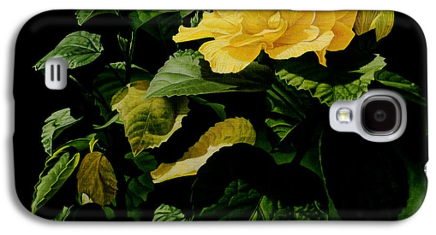 Floral Galaxy S4 Case featuring the painting Yellow Hibiscus by Gary Hernandez