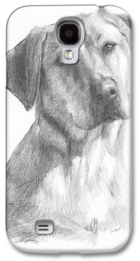 <a Href=http://miketheuer.com>www.miketheuer.com</a> Yellow Lab Dog Pencil Portrait Galaxy S4 Case featuring the drawing Yellow Lab Dog Pencil Portrait by Mike Theuer