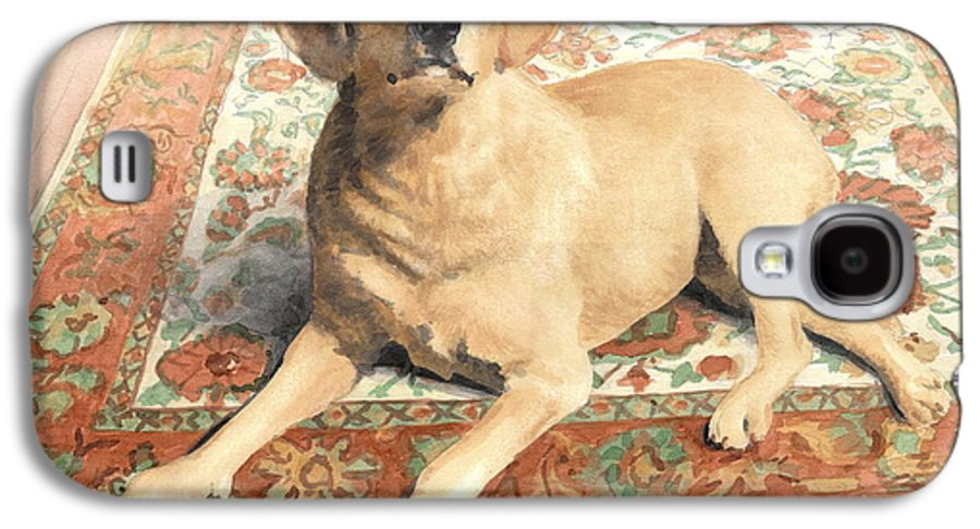 <a Href=http://miketheuer.com>miketheuer.com</a> Yellow Lab On A Rug Watercolor Portrait Galaxy S4 Case featuring the drawing Yellow Lab On A Rug Watercolor Portrait by Mike Theuer