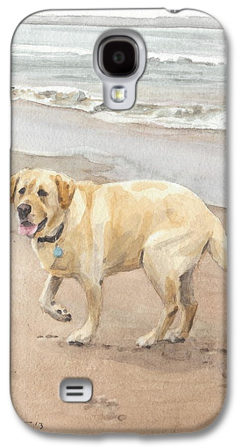 <a Href=http://miketheuer.com Target =_blank>www.miketheuer.com</a> Yellow Lab On Beach Watercolor Portrait Galaxy S4 Case featuring the drawing Yellow Lab On Beach Watercolor Portrait by Mike Theuer