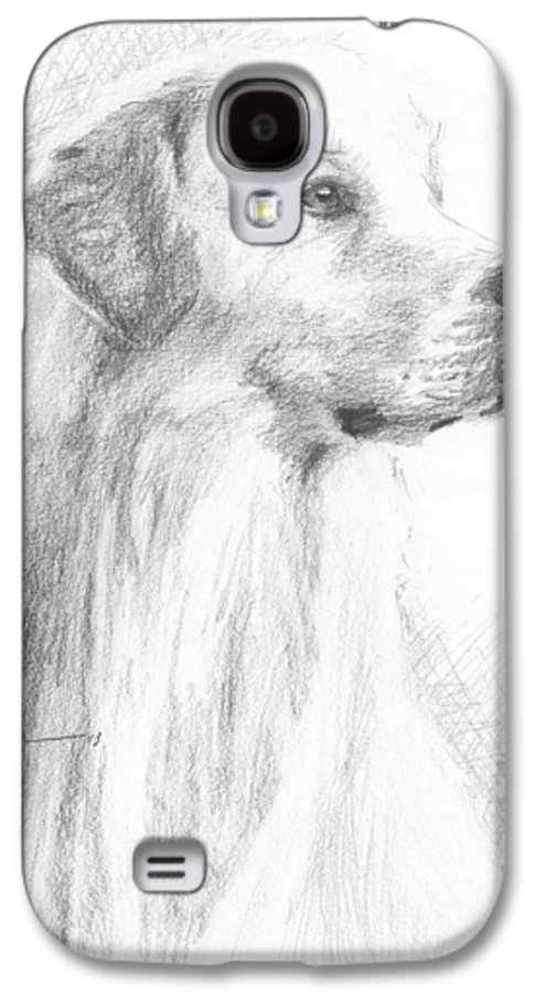 <a Href=http://miketheuer.com Target =_blank>www.miketheuer.com</a> Yellow Labrador Show Dog Pencil Portrait Galaxy S4 Case featuring the drawing Yellow Labrador Show Dog Pencil Portrait by Mike Theuer