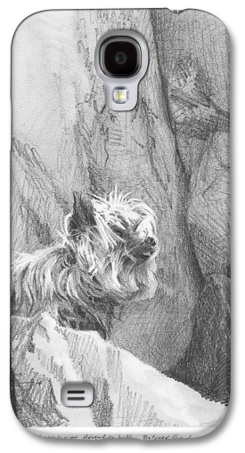 <a Href=http://miketheuer.com Target =_blank>www.miketheuer.com</a> Yorkie Dog On A Cliff Pencil Portrait Galaxy S4 Case featuring the drawing Yorkie Dog On A Cliff Pencil Portrait by Mike Theuer