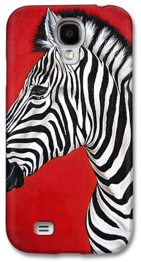Zebra Galaxy S4 Case featuring the painting Zebra by Ilse Kleyn