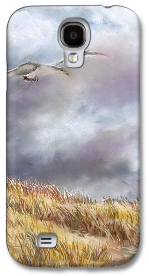 Seagull Galaxy S4 Case featuring the painting Seagull Flying Over Dunes by Jack Skinner