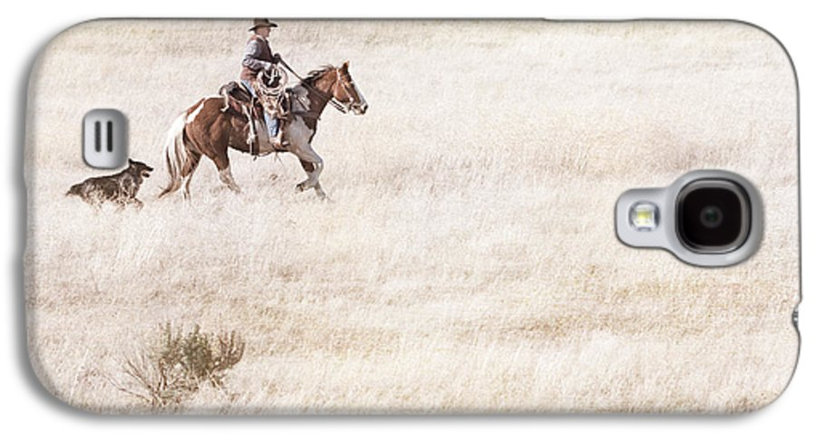 Cowboy Galaxy S4 Case featuring the photograph Cowboy And Dog by Cindy Singleton