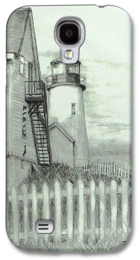 Pemaquid Lighthouse Galaxy S4 Case featuring the drawing Pemaquid Lighthouse by Jack Skinner