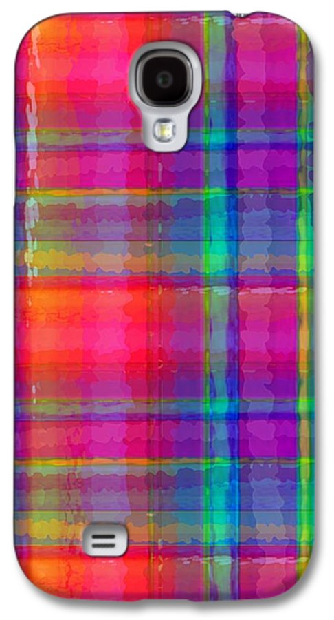 Bright Plaid (digital) By Louisa Knight (contemporary Artist) Galaxy S4 Case featuring the digital art Bright Plaid by Louisa Knight