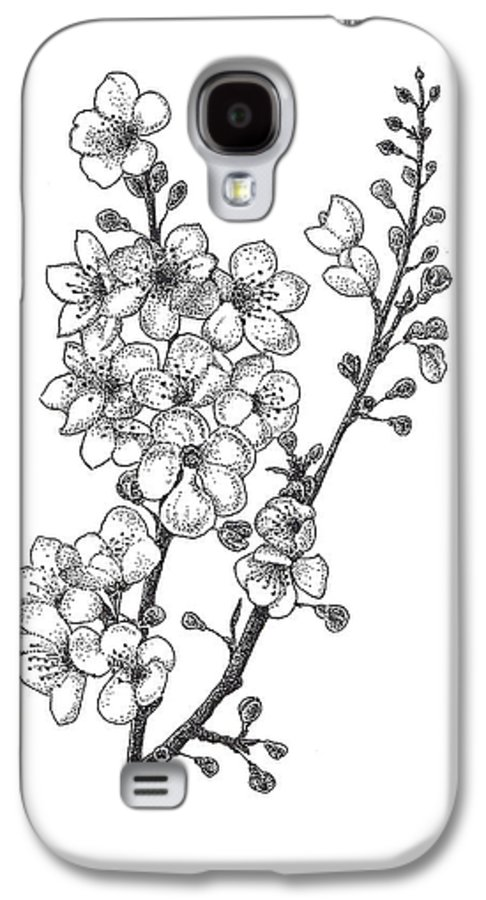 Flowers Galaxy S4 Case featuring the drawing Cherry Blossems by Christy Beckwith
