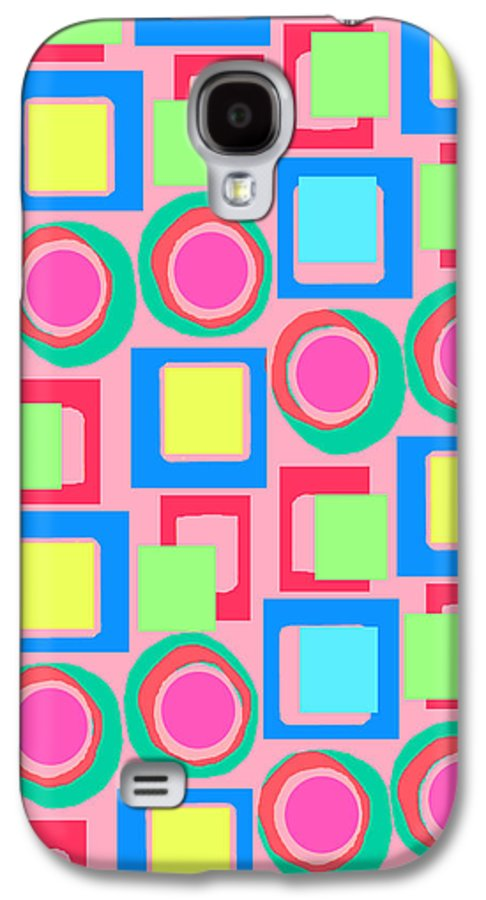 Louisa Galaxy S4 Case featuring the digital art Circles And Squares by Louisa Knight