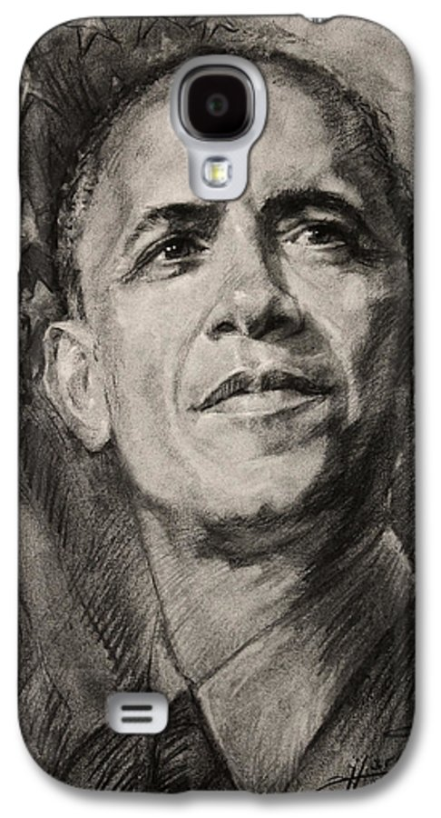 Barack Obama Galaxy S4 Case featuring the drawing Commander-in-chief by Ylli Haruni