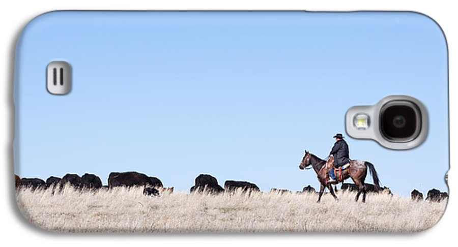Cowboy Galaxy S4 Case featuring the photograph Cowboy And Cattle by Cindy Singleton