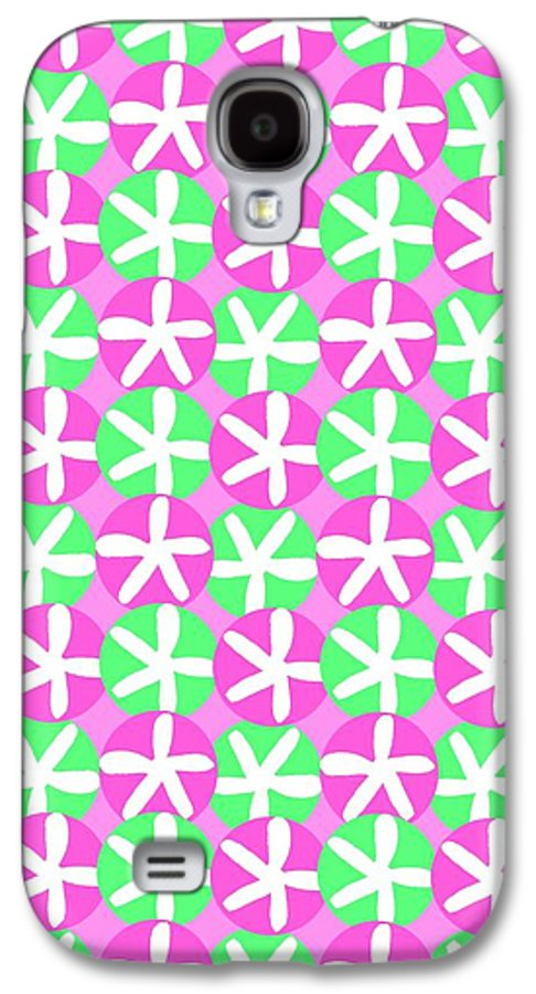 Flowers And Spots (digital) By Louisa Knight (contemporary Artist) Galaxy S4 Case featuring the digital art Flowers And Spots by Louisa Knight