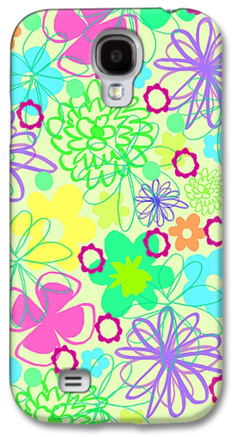 Flower Galaxy S4 Case featuring the digital art Graphic Flowers by Louisa Knight
