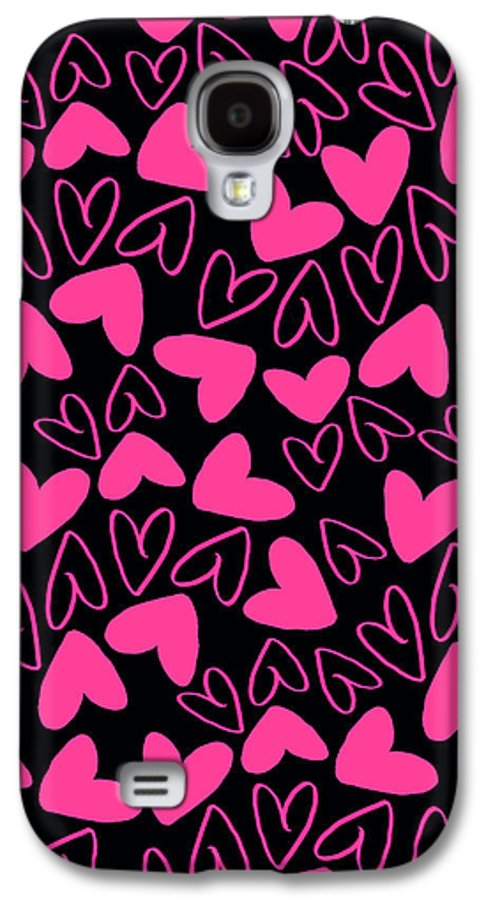 Heart Galaxy S4 Case featuring the digital art Hearts by Louisa Knight