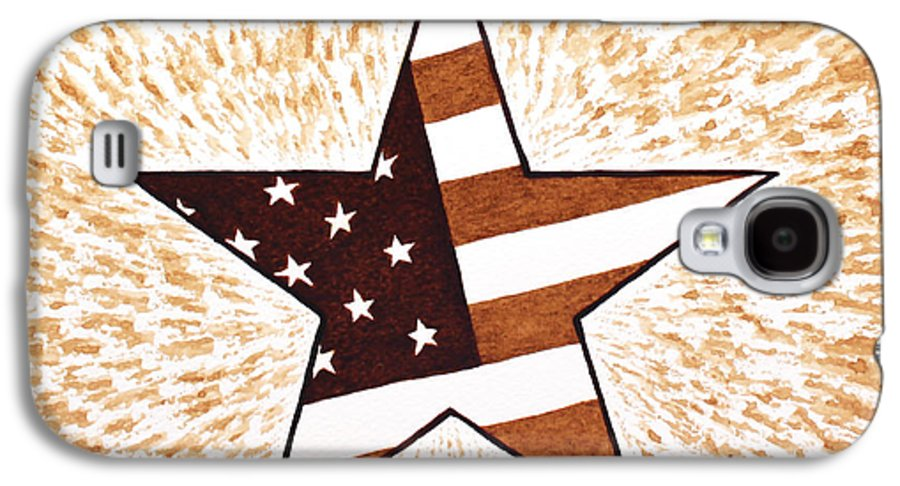 Usa Flag Galaxy S4 Case featuring the painting Independence Day Star Usa Flag Coffee Painting by Georgeta Blanaru