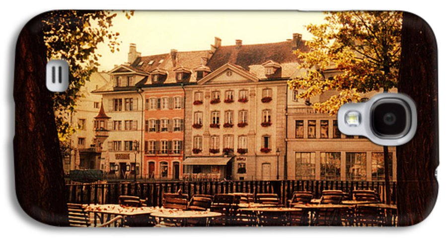 Lucerne Galaxy S4 Case featuring the photograph Outdoor Cafe In Lucerne Switzerland by Susanne Van Hulst