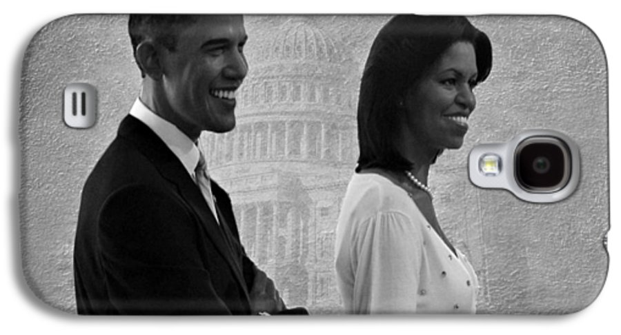 President Obama Galaxy S4 Case featuring the photograph President Obama And First Lady Bw by David Dehner