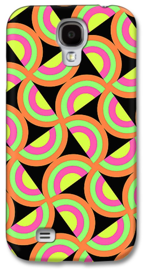 Psychedelic Squares (digital) By Louisa Knight (contemporary Artist) Galaxy S4 Case featuring the digital art Psychedelic Squares by Louisa Knight