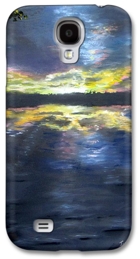 Sunset Galaxy S4 Case featuring the painting Sunset Over Mystic Lakes by Jack Skinner