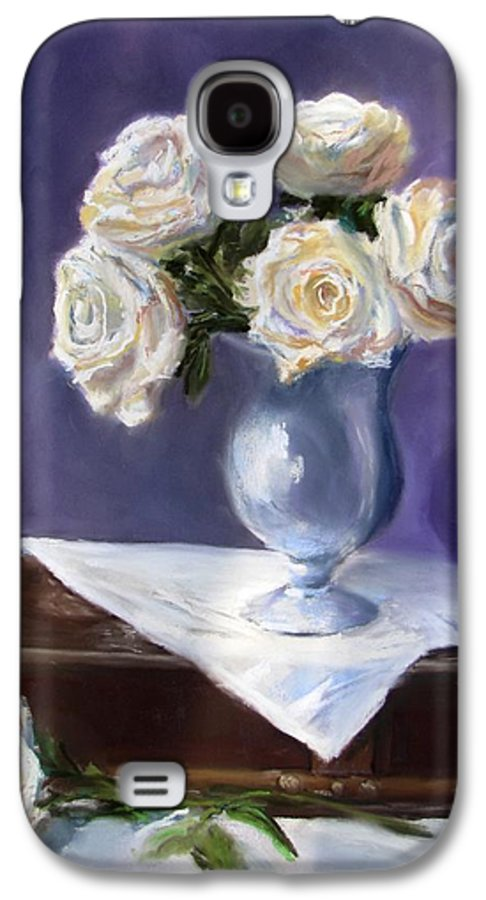 Flowers Galaxy S4 Case featuring the painting White Roses In A Silver Vase by Jack Skinner