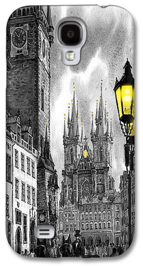 Geelee.watercolour Paper Galaxy S4 Case featuring the painting Bw Prague Old Town Squere by Yuriy Shevchuk