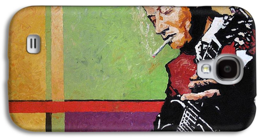 Jazz Galaxy S4 Case featuring the painting Jazz Guitarist by Yuriy Shevchuk