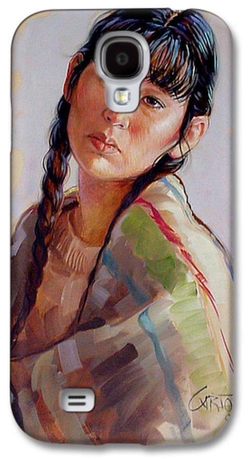 Sacajawea Galaxy S4 Case featuring the painting Sacajawea  Study by Jerrold Carton