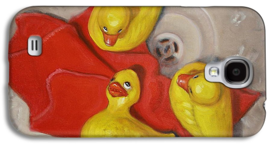 Realism Galaxy S4 Case featuring the painting Three Rubber Ducks #1 by Donelli DiMaria