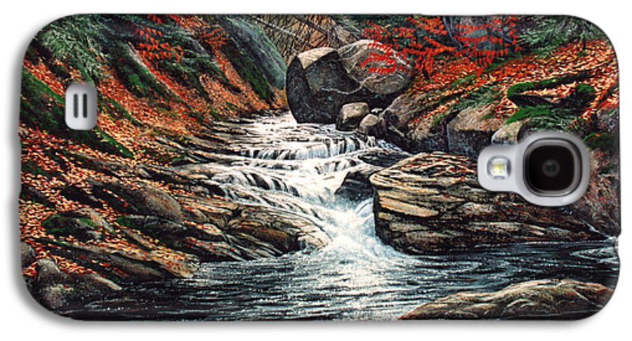 Landscape Galaxy S4 Case featuring the painting Autumn Brook by Frank Wilson