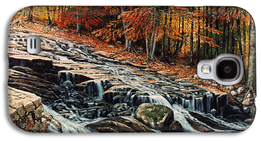 Landscape Galaxy S4 Case featuring the painting Autumn Cascade by Frank Wilson