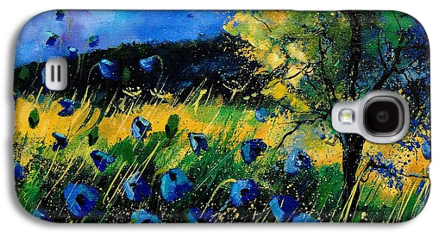 Poppies Galaxy S4 Case featuring the painting Blue Poppies by Pol Ledent