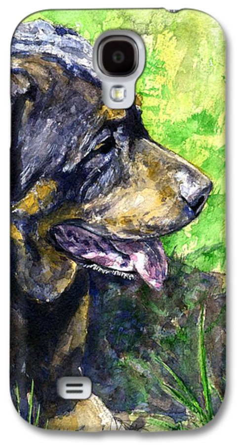 Rottweiler Galaxy S4 Case featuring the painting Chaos by John D Benson