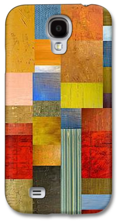 Skinny Galaxy S4 Case featuring the painting Color Panels With Green Grass by Michelle Calkins
