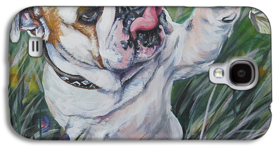 English Bulldog Galaxy S4 Case featuring the painting English Bulldog by Lee Ann Shepard