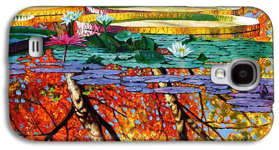 Water Lilies Galaxy S4 Case featuring the painting Fall Reflections by John Lautermilch