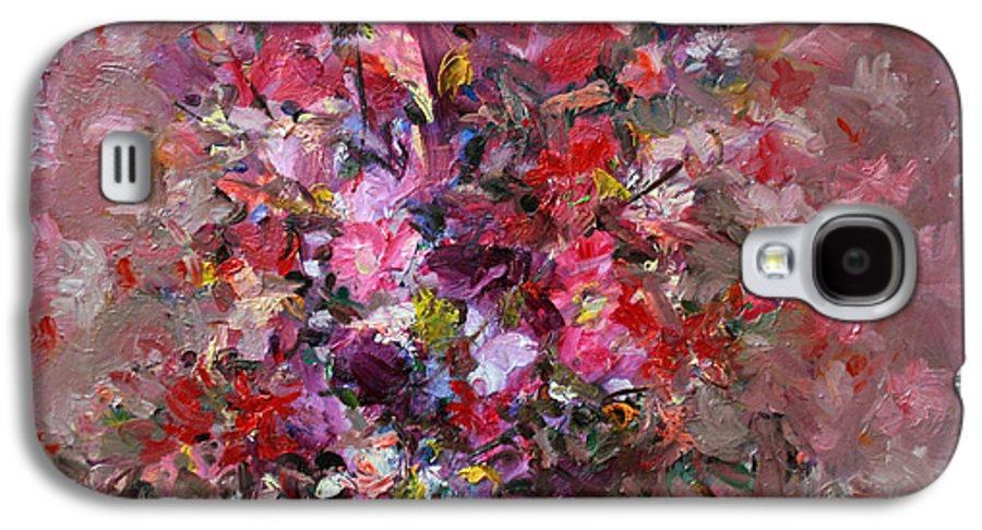 Pink Flowers Galaxy S4 Case featuring the painting Flowers by Mario Zampedroni