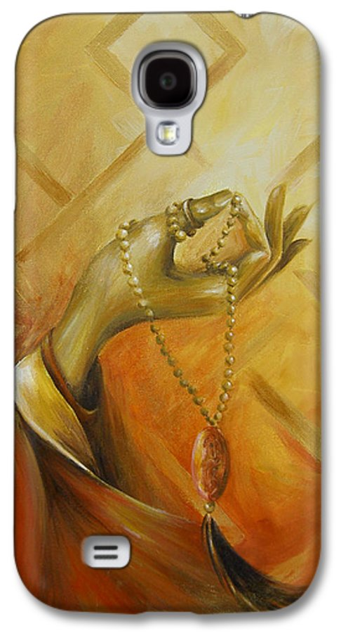 Yoga Galaxy S4 Case featuring the painting Gyan Mudra by Dina Dargo