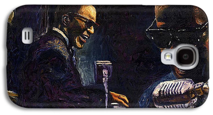 Jazz Galaxy S4 Case featuring the painting Jazz Ray Charles by Yuriy Shevchuk