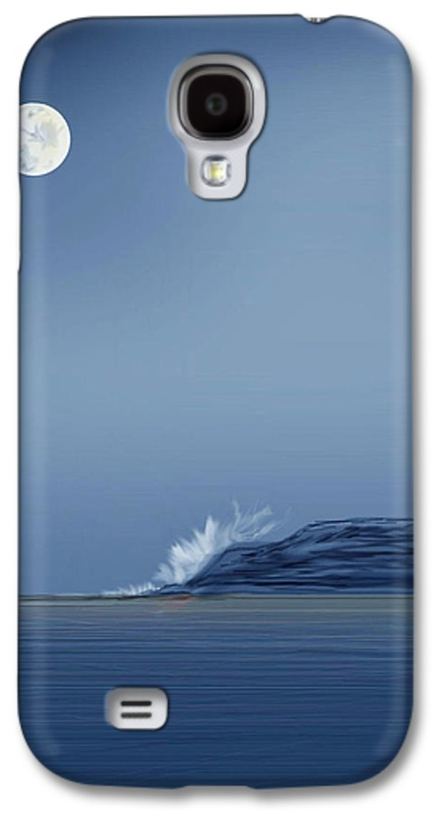Seascape Galaxy S4 Case featuring the painting Looking At The Moon by Anne Norskog