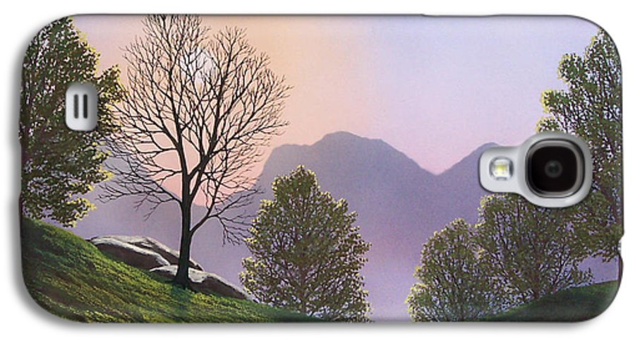 Landscape Galaxy S4 Case featuring the painting Misty Spring Meadow by Frank Wilson