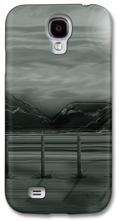 Landscape Galaxy S4 Case featuring the painting Moon Over The Beartooth by Anne Norskog