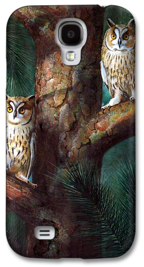 Wildlife Galaxy S4 Case featuring the painting Owls In Moonlight by Frank Wilson
