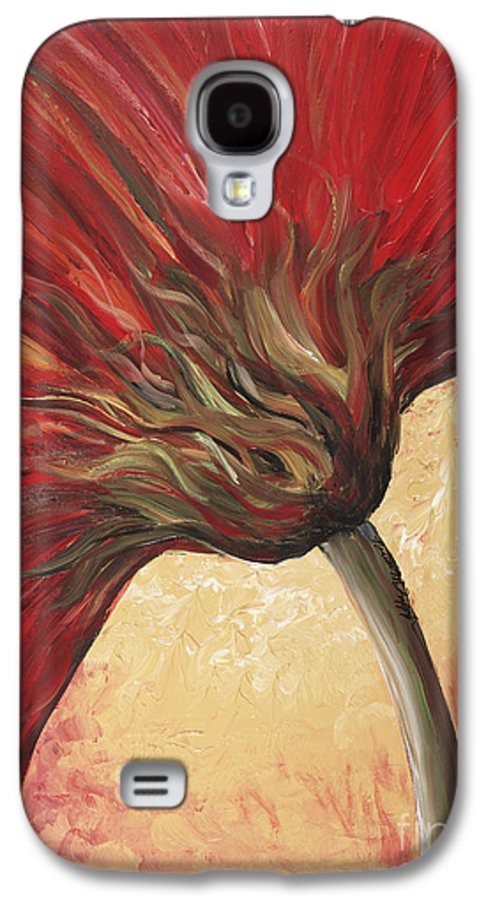 Floral Galaxy S4 Case featuring the painting Power Of Red by Nadine Rippelmeyer