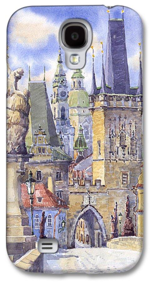 Watercolour Galaxy S4 Case featuring the painting Prague Charles Bridge by Yuriy Shevchuk