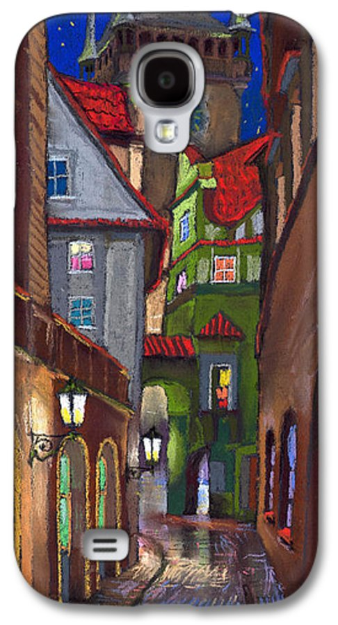 Pastel Galaxy S4 Case featuring the painting Prague Old Street by Yuriy Shevchuk