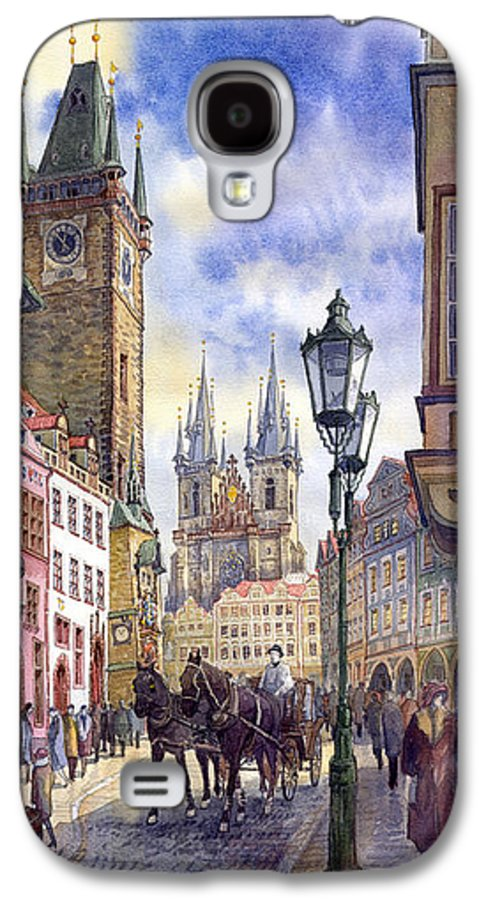 Watercolour Galaxy S4 Case featuring the painting Prague Old Town Square 01 by Yuriy Shevchuk