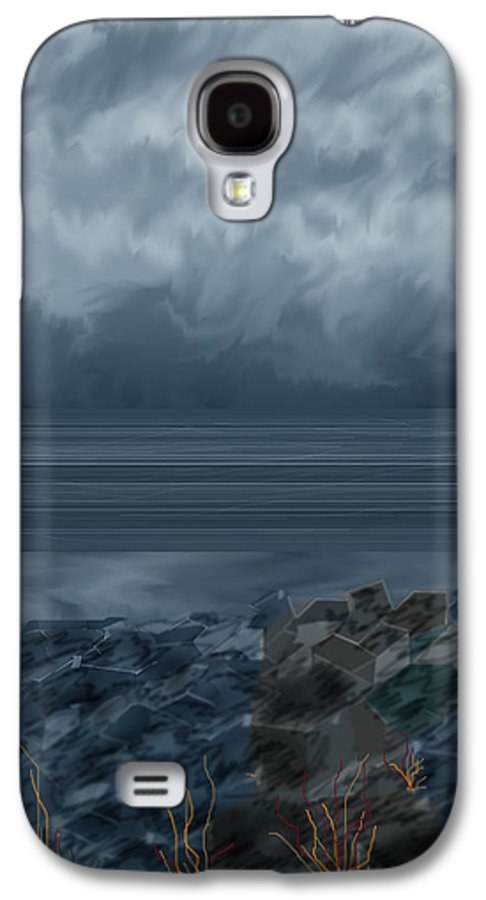 Seascape Galaxy S4 Case featuring the painting Slack Tide On The Jetty by Anne Norskog