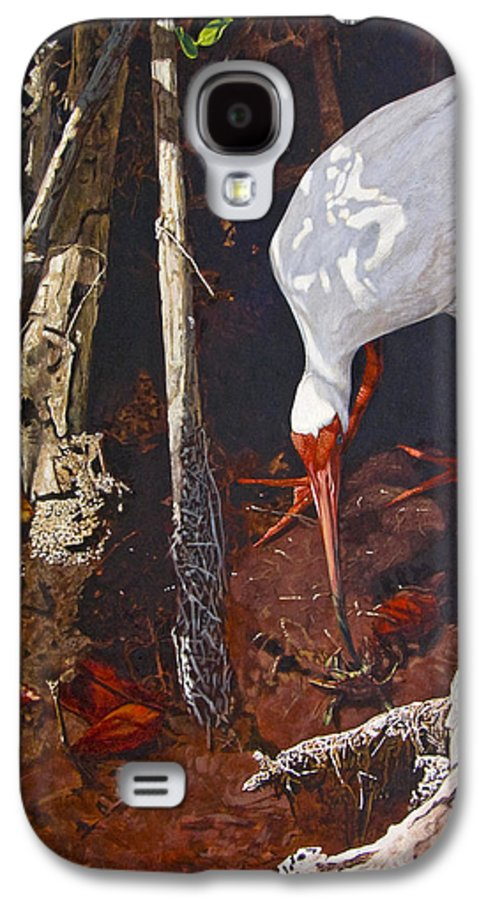Waterfowl Galaxy S4 Case featuring the painting Sparring For Lunch by Peter Muzyka