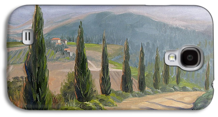 Landscape Galaxy S4 Case featuring the painting Tuscany Road by Jay Johnson